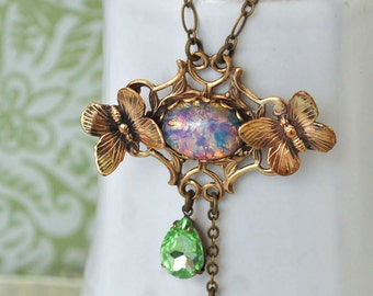 ENCHANTED FOREST antiqued brass Victorian style floral necklace with butterfly and pink green pear shaped jewels