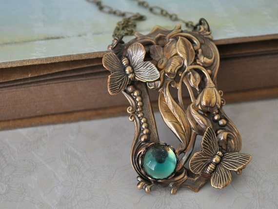 THROUGH the GARDEN WINDOW, antique brass necklace with butterfly and vintage glass jewel