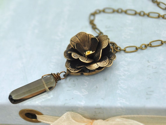 THE ORACLE, vintage style antique brass rose necklace with  genuine smoky color crystal drop