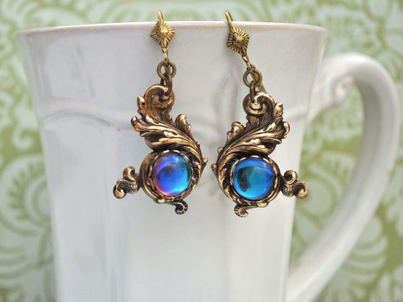 THE WATER DRAGON, antique brass Victorian style earrings with vintage ab effect glass cab