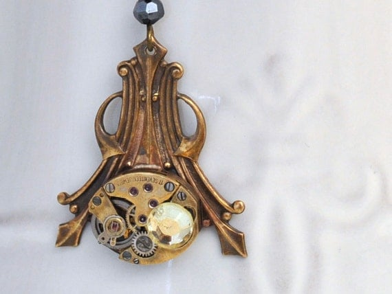TIME KEEPER, antique brass steampunk watch movement necklace with vintage black glass jewels