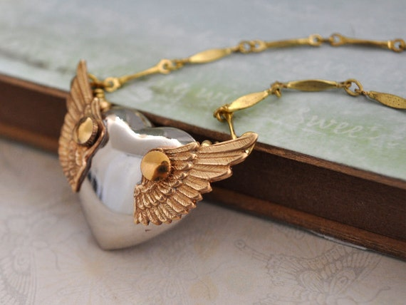 THE WINGED HEART steampunk winged puffy heart necklace with watch gears