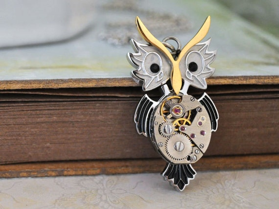 silver steampunk necklace - STEAMPUNK OWL - surgical steel cute owl pendant with vintage watch movement