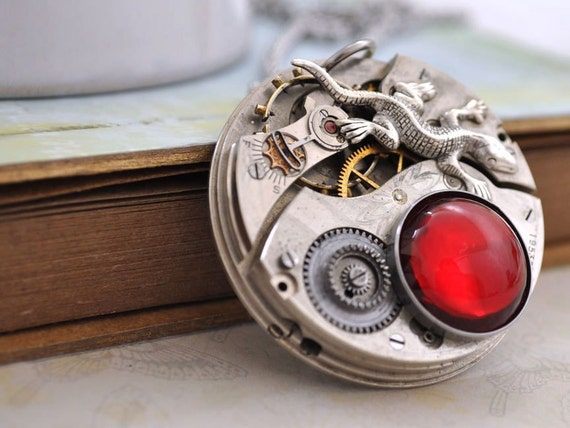 steampunk necklace - IN THE MIST - antique year 1916 pocket watch movement necklace with small lizard charm ruby red glass statement piece