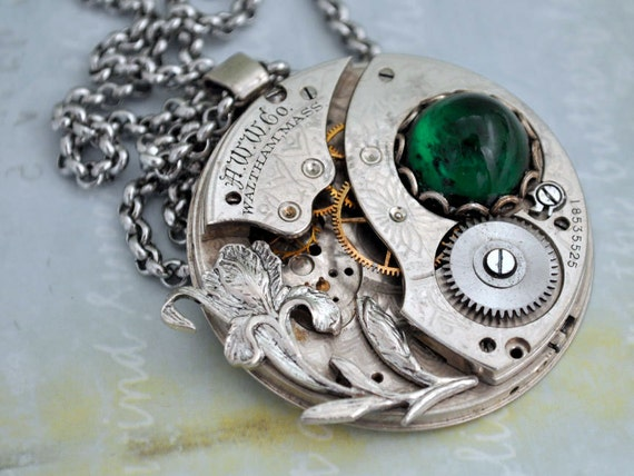 Love Takes Time, antique silver steampunk vintage engraved pattern pocket watch movement necklace with Iris and vintage green glass cab