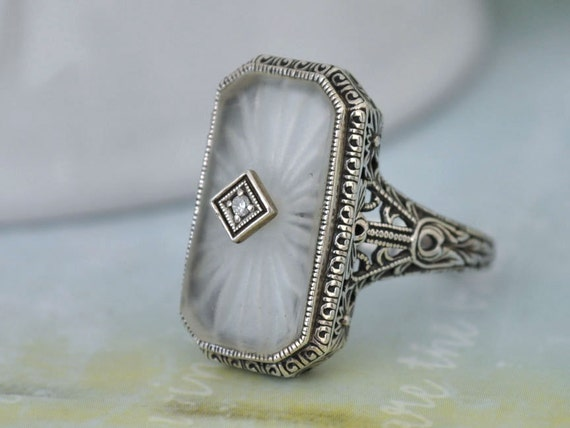VINTAGE FIND, Art Deco sterling silver ring with pressed glass cab size 6.9
