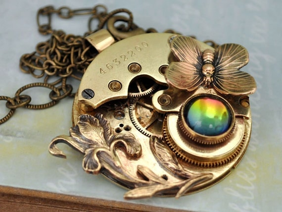 LOVE TAKES TIME steampunk  1883 antiqued brass vintage pocket watch movement necklace with iris flower and vintage Swarovski rhinestone