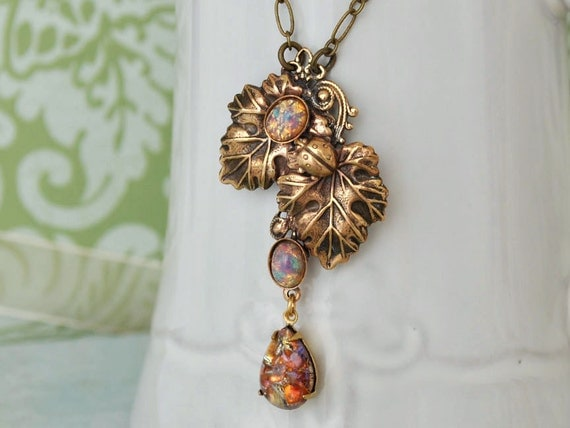 Vintage inspired, Victorian style, leaf necklace, raindrop necklace, pink opal, vintage jeweled, WATER DROPS