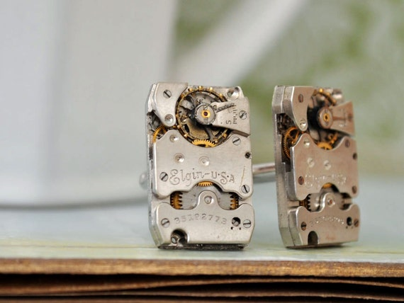 steampunk cuff links THE TIME KEEPER antique year 1937 Elgin jeweled watch movement cuff links