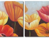 Decoration Flower Sets in 100 percent original Hand Painting, Acrylics on Canvas