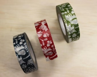 Squirrel woods - Masking tape  - set of 3 - 15mmW - Made in Japan