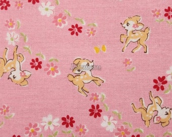 Cute bambi - Old new fabric collection   - Pink by Lecien - Printed in Japan