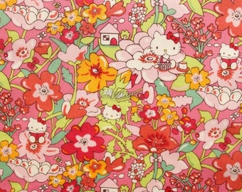 Liberty tana lawn - Kirstie Hello Kitty printed in Japan  - Pink mix