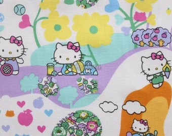 SALE - Liberty tana lawn - Mim Hello Kitty printed in Japan - Blue mix