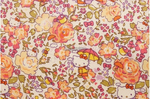Liberty tana lawn - Felicite Hello Kitty printed in Japan - Orange mix