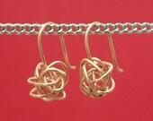 ON SALE Rose Gold Love Knot Earrings
