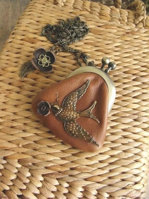 tori leather purse necklace - tan