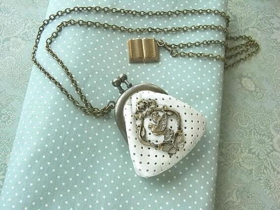 мини ожерелье кошелек - Hato - точечный белый