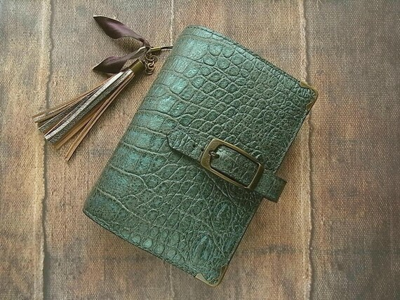 leather binder - croco in verdigris - handstitched - ooak
