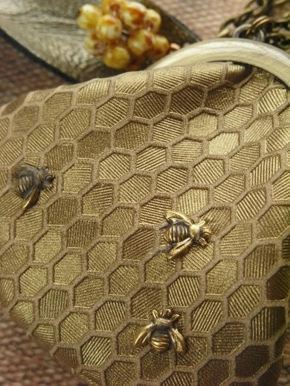 purse necklace, honeybee, honeycomb, beehive, bee necklace, bee jewelry, bee skep, bee pendant, beekeeper's gift, bee lover, insect jewelry