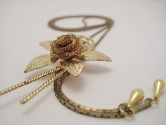 Vintage gold tone bolo tie rose flower