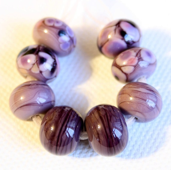 Lampwork Bead Spacers, SRA, FHFteam, Heather