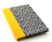Notebook / blank journal  blue wax batik pattern with yellow linen A6
