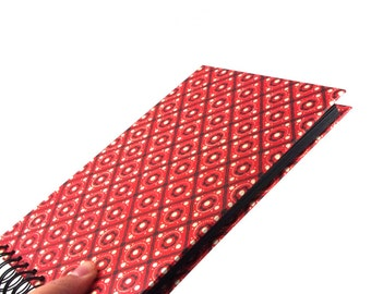 small photo album, spiral bound album with pinny pattern in red black white