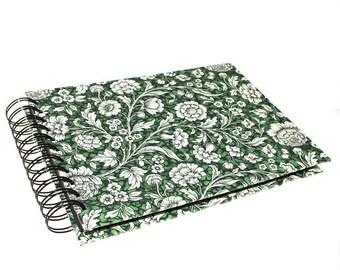 green Photo Album Renaissance Roses, spiral bound Scrapbook A5, floral pattern