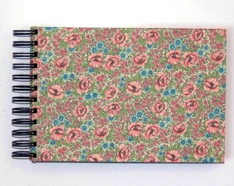 Shabby Chic floral A5 Photo Album, spiral bound pink rose scrapbook, baby album