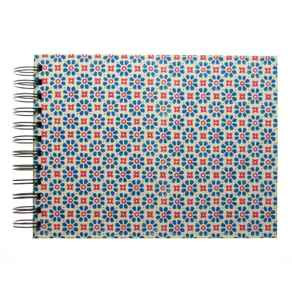 5x7 Photo Album red blue, spiral bound scrapbook, baby album, photo book, baby scrapbook, baby book, memory book, handmade keepsake album