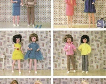 KNITTING PATTERN Sindy/Tammy/Tressy doll knitting pattern - full wardrobe of outfits emailed