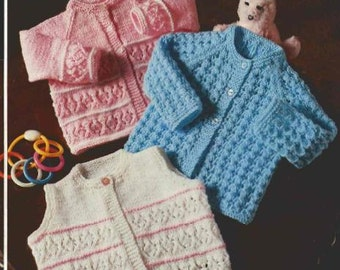 Baby KNITTING PATTERN Cardigans/Sweater/Waistcoat jumpers 16 to 20 inch chest PDF download