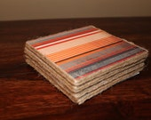 SALE-Red, Orange and Grey Stripped Coaster Set