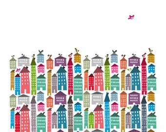 Houses and Birds Print - Different Sizes