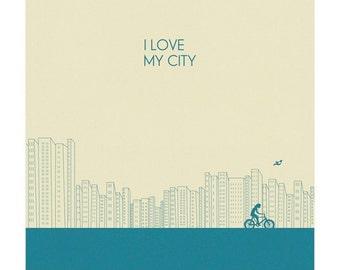 I love my city Print l Blue - Different Sizes