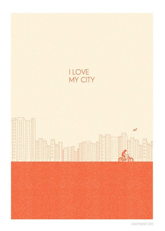 I love my city Print l Red - Different Sizes