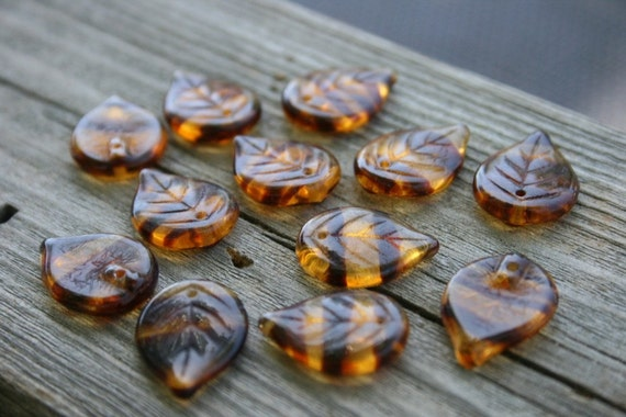 Czech Glass Top Drilled Leaf Beads - Czech Glass Leaves - Brown Striped Leaves - Bead Soup Beads - LAST ONE