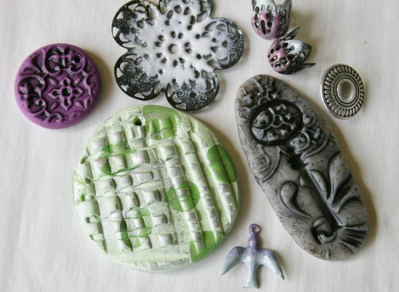Handmade Polymer Clay Pendants Torch Fired Enamel Findings Mixset
