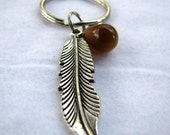 Brown Feather Keychain