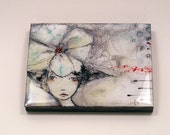 Mixed Media Art Block encased in resin girl with flower illustration by diane ackers