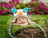 Crochet owl hat, Cotton baby hat, Owl hat, photo props, baby shower gift, baby owl hat, baby shower gift, coming home outfit, babby hat