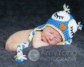 Sleeping Owl Beanie - Unisex Celestial theme - Photography prop - Newborn or 0-3 Month Size