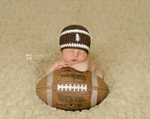 Baby boy hat, baby girl hat, crochet football beanie, football, photo prop, baby shower gift, coming home outfit, crochet newborn hat