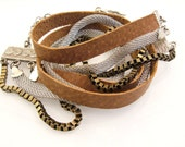 Silver and Leather Wrap Bracelet, Womens Wrap Bracelet,Chic Bracelet,Boho Leather Bracelet,Silver Leather Cuff bracelet,Triple Wrap Bracelet