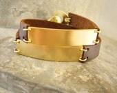 Personalized Leather Name Bracelet, Customized bracelet for her. Name Bracelet, Plate Bracelet. Bar Bracelet. Custom Leather Cuff Bracelet