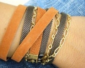 Leather Wrap Bracelet, Triple wrap leather gold chain Bracelet, Wrap Leather Cuff Bracelet, Chunky leather bracelet Cuff, Trendy gift idea