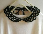 crochet black peter pan collar necklace -simple, for dresses, lace, detachable collar
