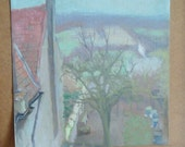 oil painting on canvas, french countryside, view from my window, vintage thebestvintage,ebvteam