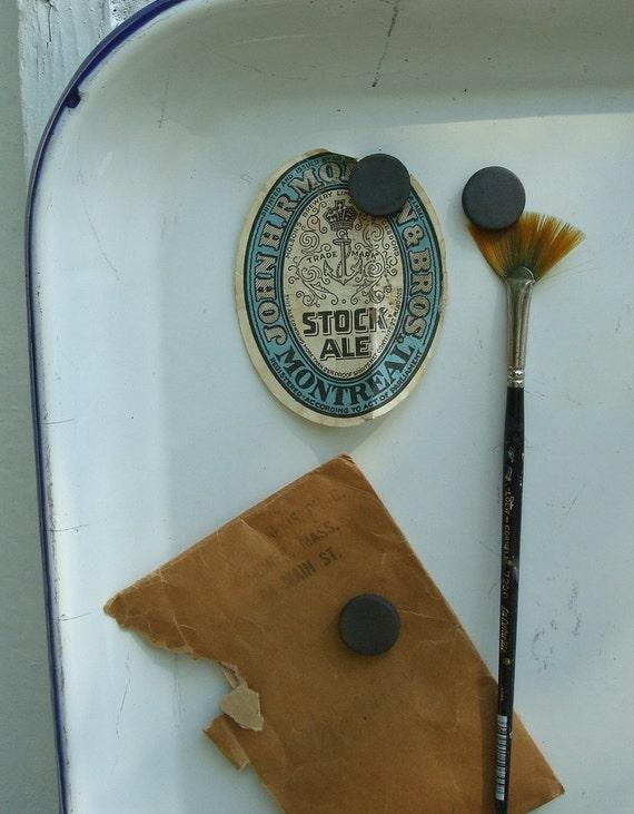 Vintage white enamel tray, magnetic memo inspiration board, large